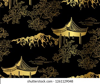 mountain flower blossom arbor nature landscape view vector sketch illustration japanese chinese oriental line art ink seamless pattern