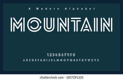 Mountain font. Elegant alphabet letters font and number. Lettering Minimal Fashion Designs. Typography fonts regular uppercase and lowercase. vector illustration - Shutterstock ID 1857291103