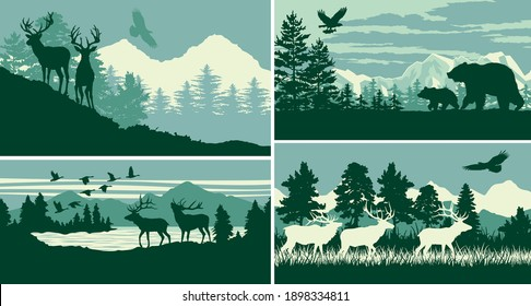 Mountain forest animal wildlife landscape vector outdoor adventure silhouette labels collection