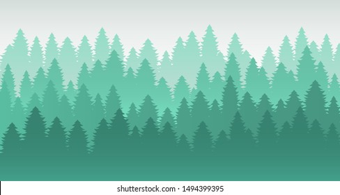 Mountain forest green scenery vector background. Morning mist, panoramic outdoors view for tourism posters, hiking ads. Pine park, evergreen woods. Foggy morning, dim light calm mood illustration.