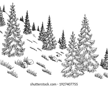 Mountain forest hill graphic black white landscape sketch vector