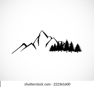 Mountain and forest icon vector