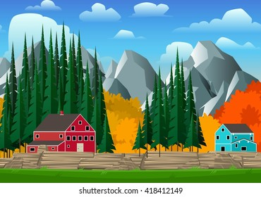 Mountain and forest landscape with bright canadian style houses. Vector illustration.