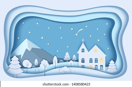 Mountain forest landscape in paper cut style. 3d paper origami church and night starry sky, shooting star for concept design. Merry christmas card. Vector Holiday frame.