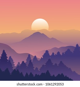Mountain and forest landscape with trees on Sunset, Vector illustration