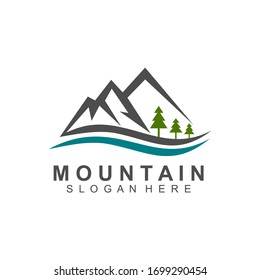 Mountain and forest logo design