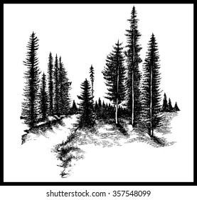 Mountain forest pine trees river hand drawn vector illustration