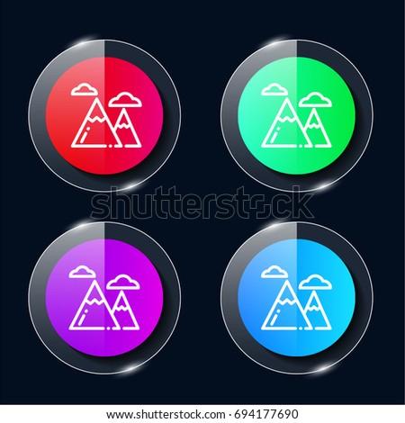 Mountain Four Color Glass Button Ui Stock Vector (Royalty
