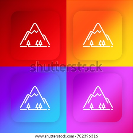 Mountain Four Color Gradient App Icon Stock Vector (Royalty