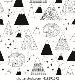 Mountain and fox seamless pattern. Modern design. Vector illustration.