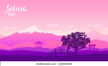 mountain Fuji with fall colors in Japan template land page wallapapers design concept. Cherry blossom in Japan spring season. Scenic Sunset Landscape of Fujisan at Evening Time, Kawaguchiko, Yamanashi