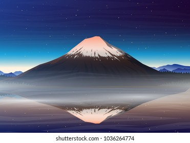 Mountain Fuji, night panoramic view with reflection on the lake kawaguchiko, peaks, landscape early in a daylight. travel or camping, climbing, vector. Outdoor hill tops, Japan