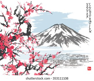 Mountain Fuji and spring Oriental cherry blossoms.