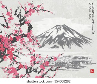 "Mountain Fuji and spring Oriental cherry blossoms. Picture in traditional japanese sumi-e style. Vector illustration. Hieroglyph ""harmony"""
