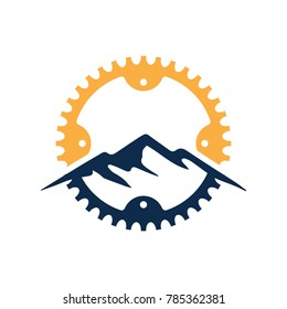 Mountain, Gear, Bike, Mountain bike, cycle, velocity, Vintage and modern bicycle logo, badge, label and design elements. BICYCLE BADGE AND LOGO