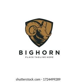 Mountain Goat Big Horn Logo Vector Stock