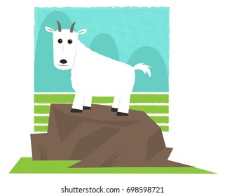 Mountain Goat - Clip art of a mountain goat standing on a rock. Eps10