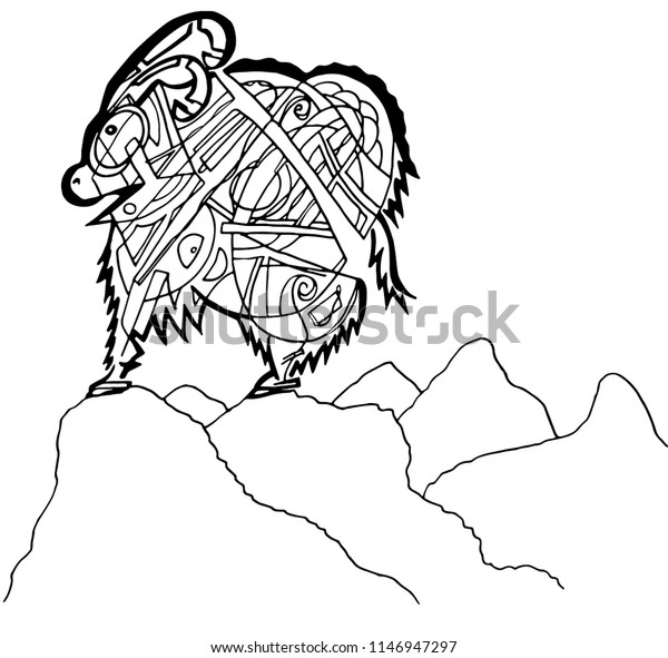 Mountain Goat Coloring Page Stock Vector Royalty Free
