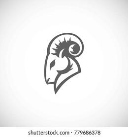 Mountain goat head vector logo
