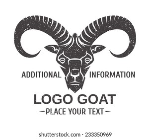 mountain goat - the symbol graphic stylization - logo template or mascots vector black and white