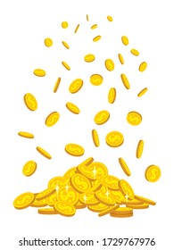 Mountain of gold coins fall, flat cartoon style. Golden coins pile heap. Bank currency shining sign flying in air. Hundreds cash different pile. Isolated vector illustration