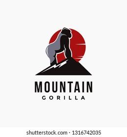 Mountain and gorilla, creative gorilla logo icon inspiration