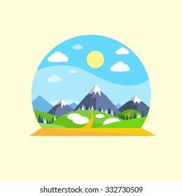 Mountain Green Grass Sun Landscape Forest Park Blue Sky Circle Concept Logo Flat Vector Illustration