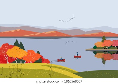 Mountain green valley landscape. Autumn season lake scenic view poster. Fishing leisure on calm river in Alps mountains. Fall trees forest cartoon background. Vector countryside outdoor illustration