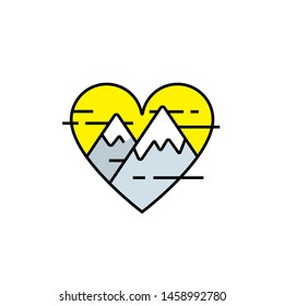 Mountain heart line icon. Love nature symbol. Outdoor adventure lover sign. Vector illustration.