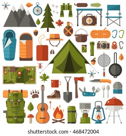 Mountain hike elements. Autumn forest camping set. Hiking equipment and gear vector icon collection. Mountains, tent, binoculars, campfire, barbecue, flashlight, lantern, camera. Tourist camp tools.