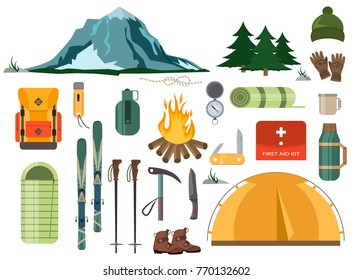 Mountain hike winter ski hiking snowy backpack skiing accessories travel climbing mountaineering vector adventure illustration. Nature outdoor extreme tourism landscape equipment.