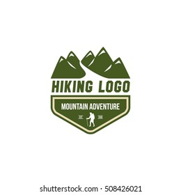 Mountain hiking adventure retro emblem