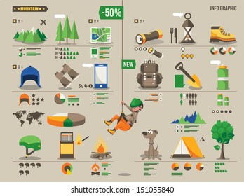 Mountain hiking and climbing vector info graphic