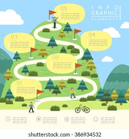 mountain hiking infographic template design in flat style