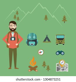 Mountain hiking, nature turist and climbing vector info graphic.
