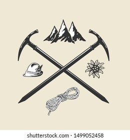 Mountain hiking outdoor vintage icon flat web sign symbol logo label set