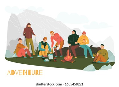 Mountain hiking tours adventures flat composition with mountaineers making halt in foothills starting camping fire vector illustration
