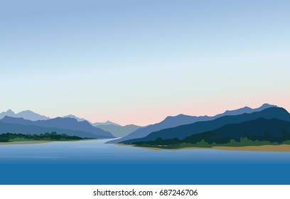 Mountain and hills landscape. Rural skyline. Lake Lagoon resort view background