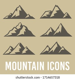 Mountain hills, rocks and peaks. Silhouette icon vector illustration. Logo art design clip art sets.