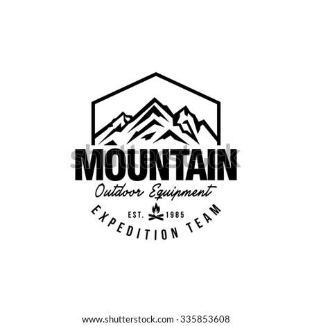 Mountain Hipster Logo Template Stock Vektorgrafik Lizenzfrei