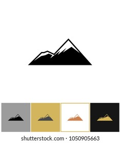 Mountain icon, alps rock mountains on gold, black and white backgrounds vector illustration. Tourism and travel icons