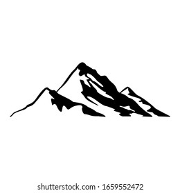 Mountain icon. Illustration of an outline of a mountain vector icon for an isolated web on a white background.