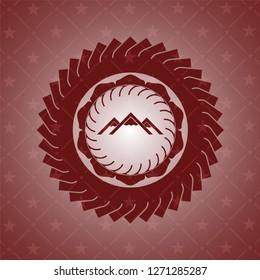 mountain icon inside red emblem. Vintage.