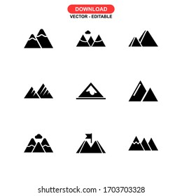 mountain icon or logo isolated sign symbol vector illustration - Collection of high quality black style vector icons