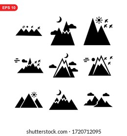 mountain icon or logo isolated sign symbol vector illustration - high quality black style vector icons