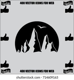 Mountain icon, rocks vector illustration