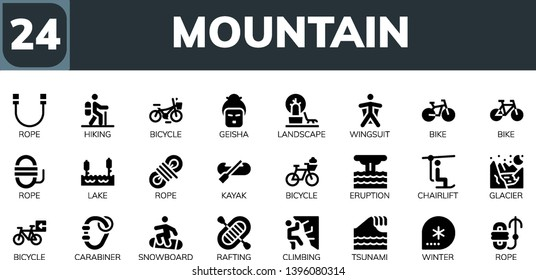 mountain icon set. 24 filled mountain icons.  Collection Of - Rope, Hiking, Bicycle, Geisha, Landscape, Wingsuit, Bike, Lake, Kayak, Eruption, Chairlift, Glacier, Carabiner, Snowboard