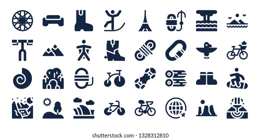 mountain icon set. 32 filled mountain icons. on blue background style Collection Of - Spoke wheel, Handlebar, Fossil, Glacier, Gym, Mountain, Cave, Hill, Boot, Wingsuit, Rope