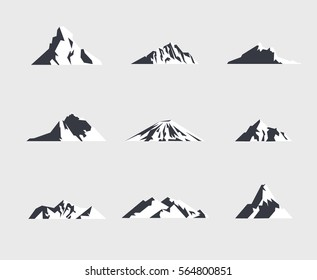 Mountain icons or logotypes. Vector illustration of mountains isolated on white background.