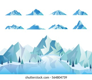 Mountain icons or logotypes. Vector illustration of mountains landscape isolated on white background.